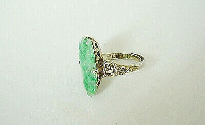 Antique Chinese Carved Jade And Silver Ring Green & White Floral