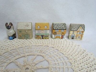 Lot of 5 Dana Kubick Tin Doll House Boxes & One Siamese Cat Container Hunkydory