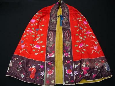 Unusual Antique Chinese Embroidered Red Silk Cape With Dragons & Immortals