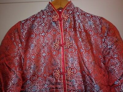 Vintage  Chinese Red And Gold Brocade Padded Jacket  Small Excellent Condition