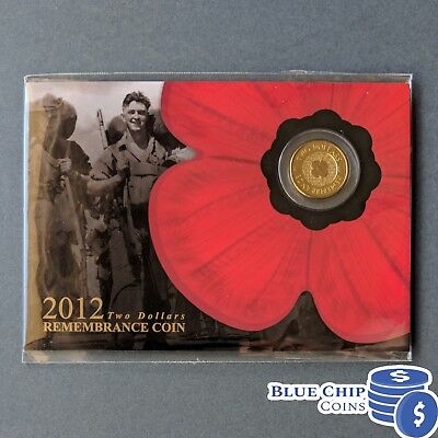 2012 Unc $2 Remembrance Day Gold Poppy Coin On Card