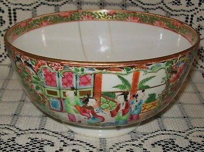 ANTIQUE CHINESE FAMILLE ROSE CANTON MANDARIN/MEDALLION BOWL (**cracked/A/F**)
