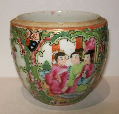 ANTIQUE CHINESE FAMILLE ROSE CANTON MANDARIN/MEDALLION POT (*chipped/no lid*)