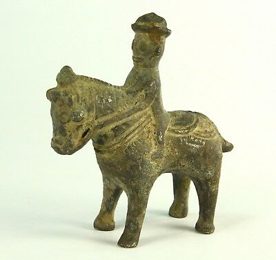 ! AUTHENTIC c.1600-900 BC ASSYRIAN Persian Bronze Horse & Rider Figure Statue