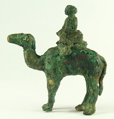 ! AUTHENTIC 500-400 BC YEMEN Sana'a Bronze Camel & Rider Figure