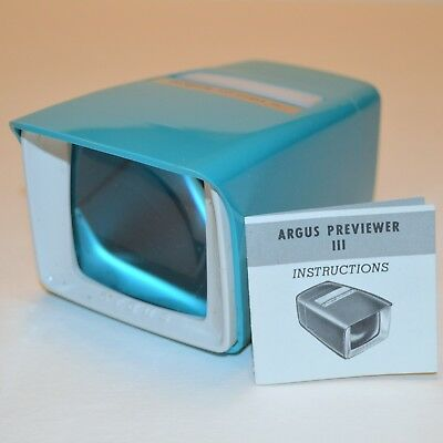 Vtg Argus PreViewer III Illuminated 2x2 Slide Viewer Magnification USA Made