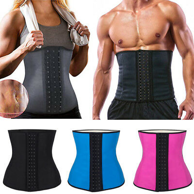 AU WAIST TRAINER Womens Latex Cincher Corset Training Shapewear Shaper