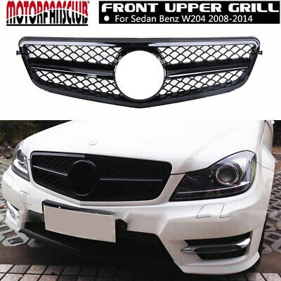 Mercedes C63 AMG Style Grill For C-Class Benz W204 C250  C300 C350 Gloss Black