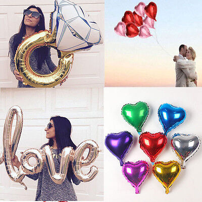 5pcs Love Heart Diamond Ring Foil Helium Balloons Wedding Party Birthday Decor