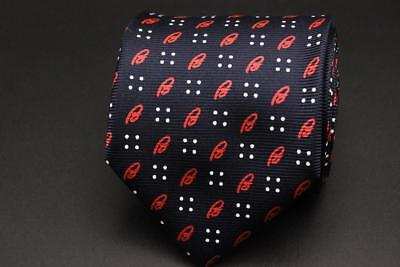 "New BRIONI Silk Tie. Navy Blue w Red ""B"" Brioni Logo. Made in Italy."