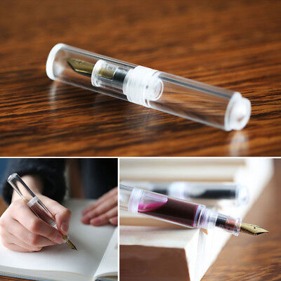 Moonman Wancai Mini Ink Sac Transparent Fountain Pen Clear Fine Nib 0.5mm Gifts