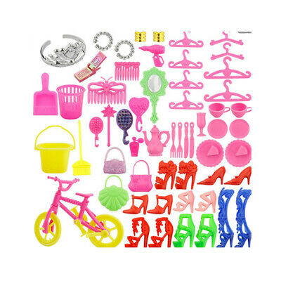 55 Pieces Barbie Doll Accessories Set - Shoes, Bag, Bike, Hanger, Clean Tool