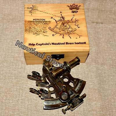 """Ship Captain's Nautical Brass Sextant 4"""" With Wooden Box-Kelvin & Hughes London"""
