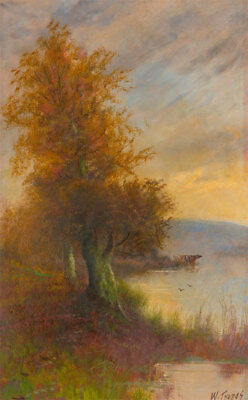 W. Thomas - Early 20th Century Oil, River Landscape with Autumnal Tree