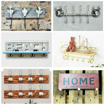 Vintage Metal Wall Coat Hooks Rack Clothes Hats Scarf Hanger Home Family Sign