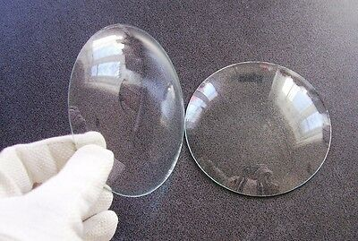 "A pair used round convex clock glass faces 4 3/10"" 110 mm Steampunk Art parts"