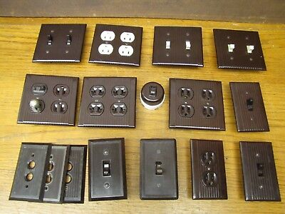 VTG Brown Bakelite Art Deco Light Switch Plate Outlet Cover Plug & Switch Lot