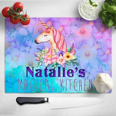Personalised Chopping Board UNICORN Glass Kitchen Home Birthday MAGICAL Gift