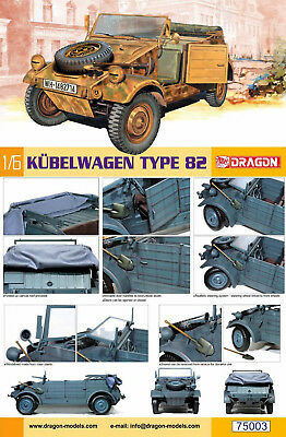 Kuebelwagen Typ 82 German Militär Volkswagen 1:6 Model Kit Bausatz Dragon 75003