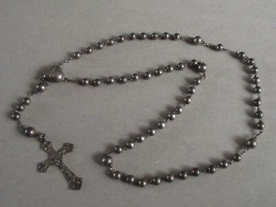 Antique sterling silver Rosary beads chain necklace