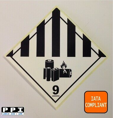 500 Class 9 Iata Compliant Lithium Battery Hazard Hazmat Warning Labels Stickers