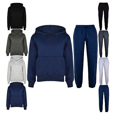 Boys Plain Tracksuit Hooded Top Jogging Bottom School Jog Suit Fleece Pants Set