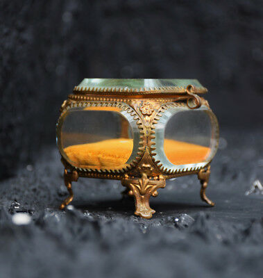 Stunning Antique 19th Century Glass and Brass French Jewellery Box