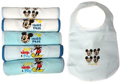 Boys Bibs Baby PACK OF 6 Disney Mickey Mouse Feeding Gift Baby Shower Blue