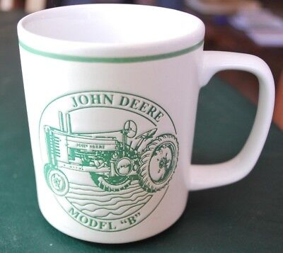 John Deere Model B Tractor History Coffee Mug Cup Embossed Green And White NICE!
