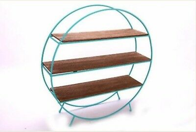 mid century vintage retro 1960's 60's 1970's 70s style teal and wooden shelf