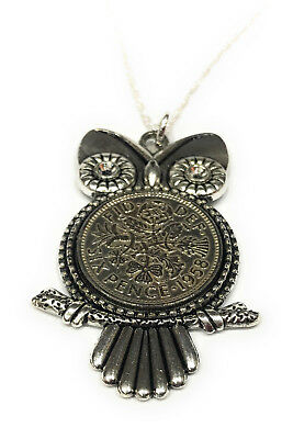 61st Birthday Sixpence Owl Pendant 1958 Gift boxed with 18 inch SS Chain