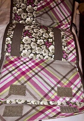 Thirty-One Painted Floral Fold N Go Organizer Makeup Travel Case & Brush Pouch