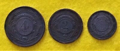 Very Nice Mixed Lot Of Three (3) Uruguay 1869 Coins - 4, 2, & 1 Centesimos