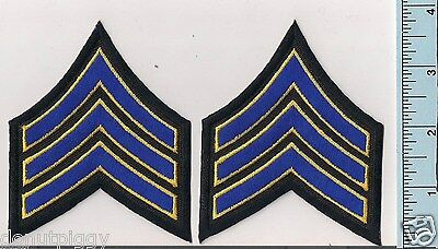 Two NEW Royal (Blue) w/Medium Gold Border Police Sergeant Rank Patches CHP Style