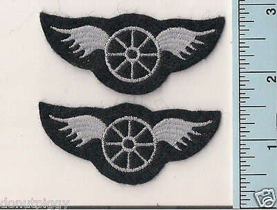 2 New Wheel w/ Wings Gray on Felt Police Motorcycle/Traffic Patches California