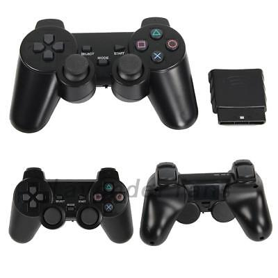 2Pcs Black Wireless Shock Game Joypad Controller For Sony PS2