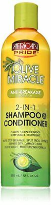 African Pride Olive Miracle 2-in-1 Shampoo and Conditioner, 12 oz (5 Pack)