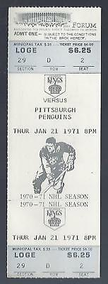1970-71 Nhl Pittsburgh Penguins @ Los Angeles Kings Full Unused Hockey Ticket