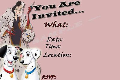 101 DALMATIANS Party Invitations with matching envelopes birthday