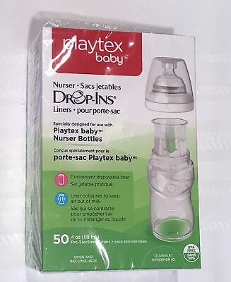 New in Box  50 Playtex Baby Drop Ins Liners  4 OZ .  Free Shipping