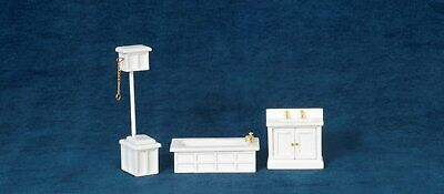 Dollhouse Miniature 1:24 Scale Bathroom Set, 3 pc, White #T0225