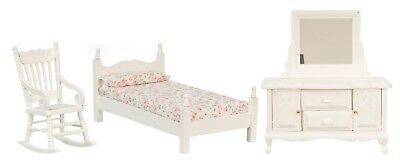 Dollhouse Miniature Bedroom Set, 3 pc, White #T0529