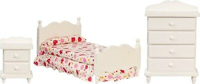 Dollhouse Miniature Single Bedroom Set, 3 pc, White #T5544