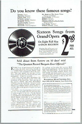 Vintage, Original, 1924 - Grand Opera Records Advertisement - Music