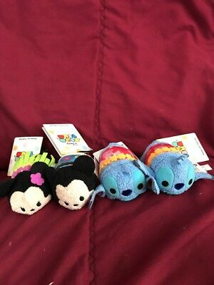 Disney Store Usa Tsum Tsum Hawaiian Mickey Minnie Stitch Set of 4