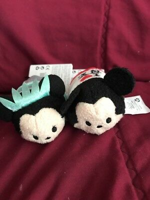 NWT Disney Tsum Tsum Mickey & Minnie NEW YORK CITY EXCLUSIVE SET of 2 Mini Plush