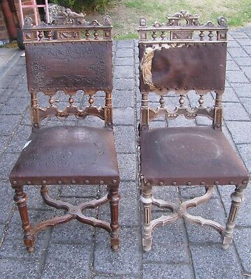 Antique Distressed Weathered Wooden Chairs x 2 For Restoration Project