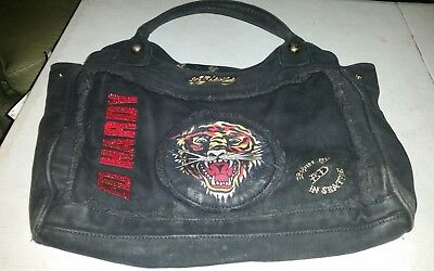 16be5acc64a0 ED HARDY women s ladies HANDBAG PURSE stitched logos w tiger 7829 melrose