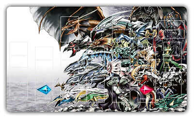 F744+ Free Mat Bag Custom Yugioh Playmat Card Mat Blue Eyes White Dragon Zones