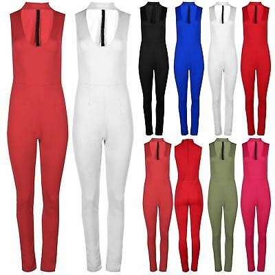 Womens Scuba Back Zip Ladies High Polo Turtle Neck Plunge Jumpsuit All in One